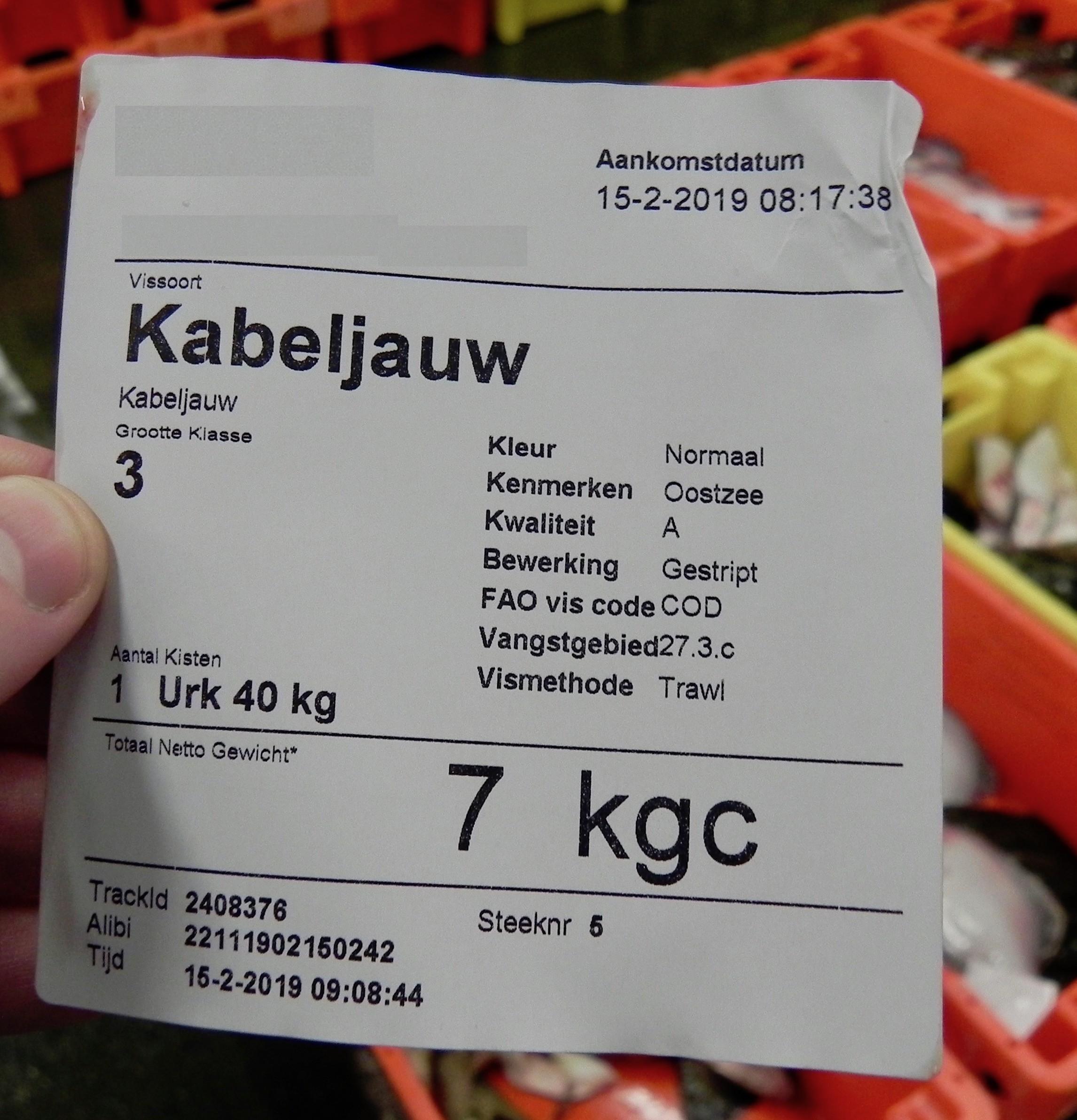 Etiket kabeljauw op de visafslag