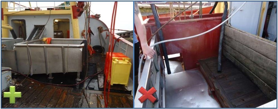 Een opvangbak van RVS of staal (links) heeft de voorkeur boven een opvangbak (gedeeltelijk) van hout (rechts).